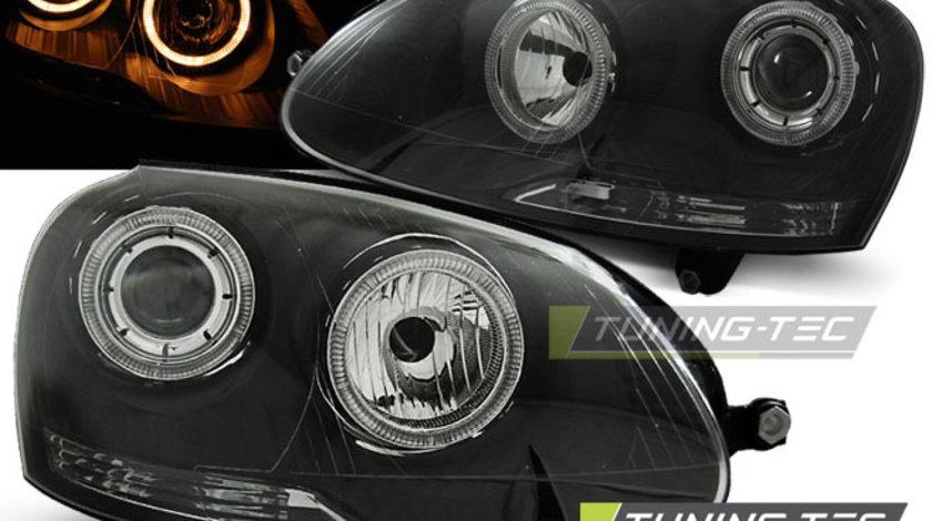 Faruri VW GOLF 5 10.2003-2009 cu ANGEL EYES fond negru