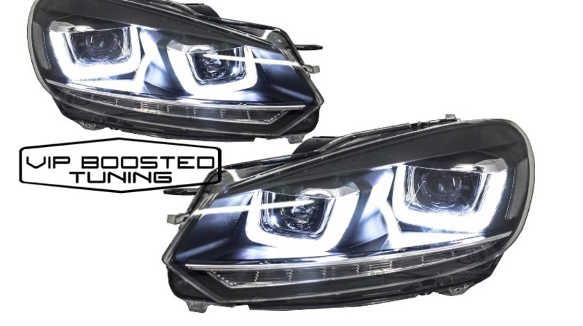 Faruri VW Golf 6 VI 3D U Design Semnalizare LED Dinamica secventiala