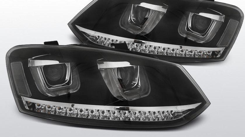 Faruri VW POLO 6R 2009-2014 model U-TYPE pe LED Negru