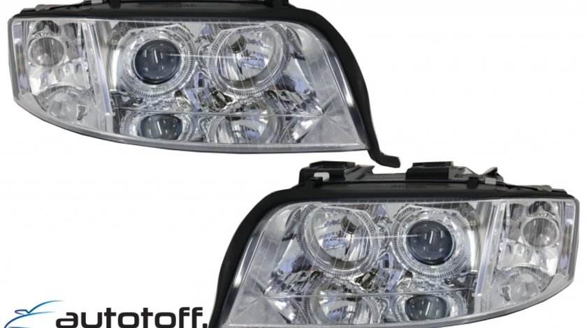Faruri Xenon AUDI A6 Sedan Avant (2001-2004) Angel Eyes Crom