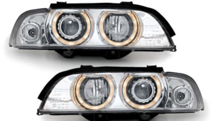 Faruri Xenon BMW E39 Seria 5 95-00 Angel Eyes crom