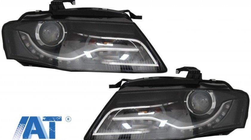 Faruri Xenon Cu Lumini de zi Integrate LED (DRL) compatibil cu Audi A4 B8 8K (09.2007-10.2011) Negre
