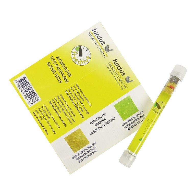 Fiole alcooltest de unica folosinta, Turdus , aprobate NF pentru Franta , tester alcool , 1 buc