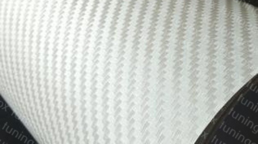 Folie carbon 3D alba 127cm x 100cm