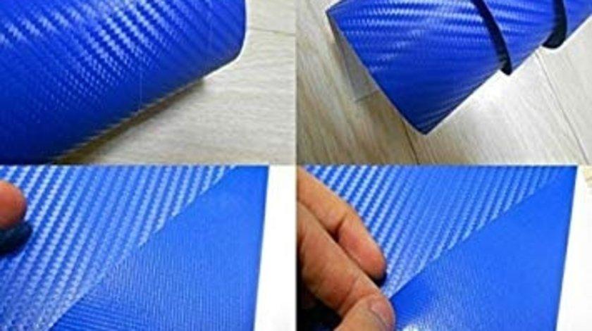 Folie carbon 3d Albastru carbon 152cm-fara bule