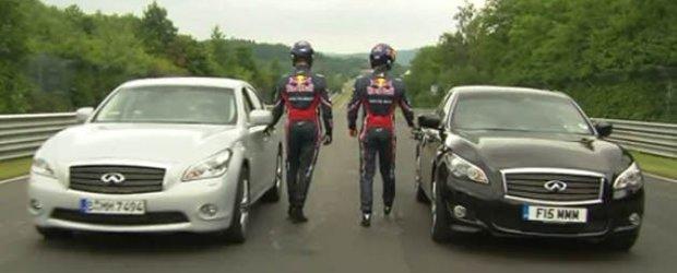 Formula 1 cu masini de familie: Vettel si Webber se alearga cu doua masini Infiniti M pe Nurburgring