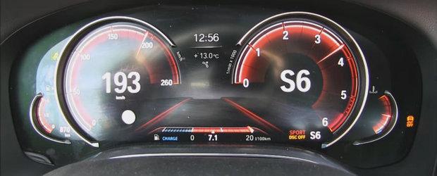 Fuge ca nebunul, si consuma doar 7.1/100 de km. Test de acceleratie la bordul BMW-ului 740d