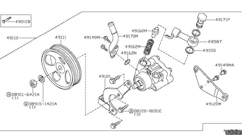 Fulie pompa servodirectie Nissan Navara NISSAN OE 49132AD100