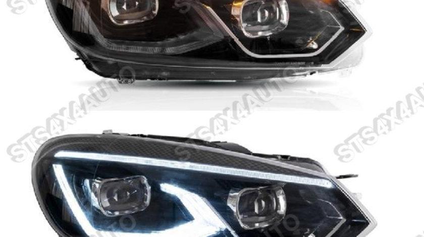 FULL LED DAYLINE FARURI CU LED Semnalizare VW Golf 6 2008-2013 BK [V2]