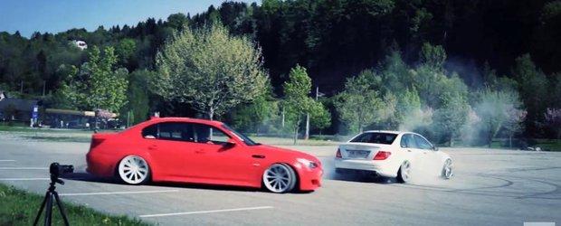 Fum din anvelope si jante Vossen cu un BMW M5 si un C63 AMG