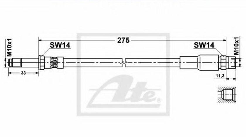 Furtun frana BMW Seria 5 (E39) (1995 - 2003) ATE 83.6113-0276.3 piesa NOUA
