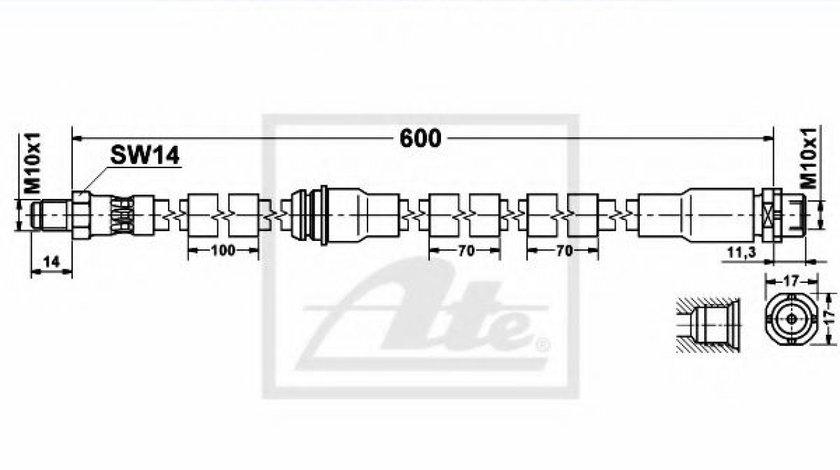 Furtun frana BMW X5 (E70) (2007 - 2013) ATE 83.6151-0602.3 piesa NOUA