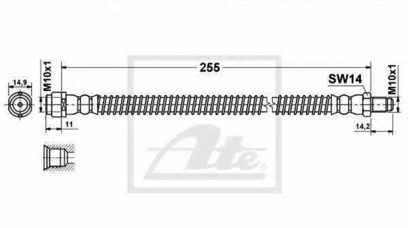 Furtun frana MERCEDES-BENZ E-CLASS W211 ATE 24.5238-0255.3