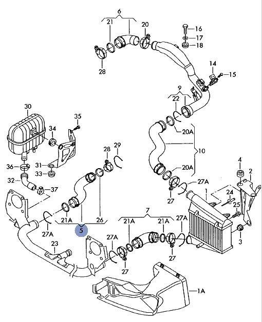 Furtun Turbo - Audi A4 / A6 1.9 TDI ( Awx , Avf , Bkc ) 038 131 111A / 038131111A
