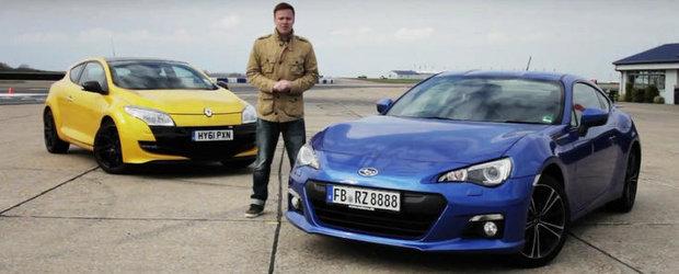 Galben sau Albastru? Renault Megane RS si Subaru BRZ se intrec pe circuit