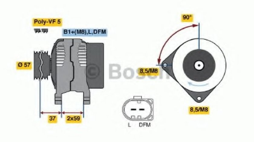 Generator / Alternator AUDI A4 (8D2, B5) (1994 - 2001) BOSCH 0 986 042 830 piesa NOUA
