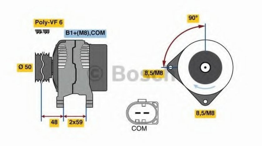 Generator / Alternator AUDI A4 Allroad (8KH, B8) (2009 - 2016) BOSCH 0 986 081 340 produs NOU