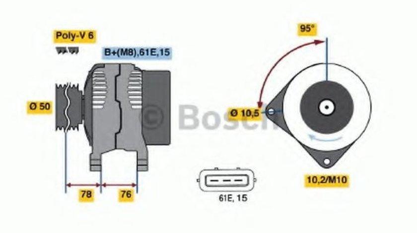 Generator / Alternator BMW Seria 3 Touring (E46) (1999 - 2005) BOSCH 0 986 040 390 piesa NOUA