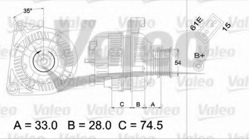 Generator / Alternator BMW Seria 3 Touring (E46) (1999 - 2005) VALEO 437160 piesa NOUA
