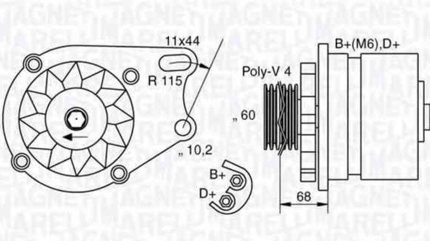 Generator / Alternator FIAT PUNTO Cabriolet 176C MAGNETI MARELLI 063321747010