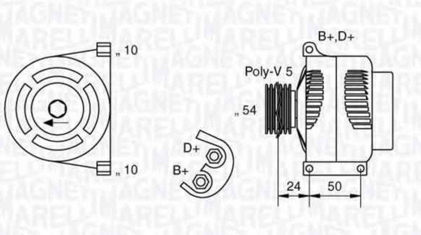 Generator / Alternator FIAT PUNTO EVO 199 MAGNETI MARELLI 063377027010