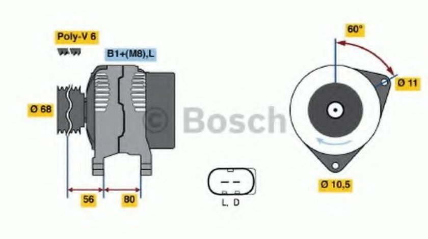 Generator / Alternator IVECO DAILY III platou / sasiu (1999 - 2006) BOSCH 0 124 515 044 piesa NOUA