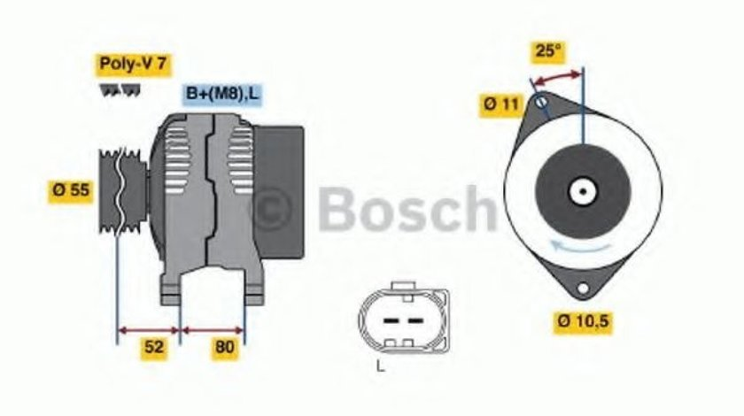 Generator / Alternator IVECO DAILY III platou / sasiu (1999 - 2006) BOSCH 0 124 325 053 piesa NOUA