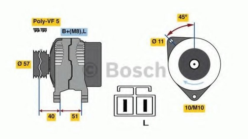 Generator / Alternator KIA CERATO limuzina (LD) (2004 - 2016) BOSCH 0 986 081 060 - produs NOU