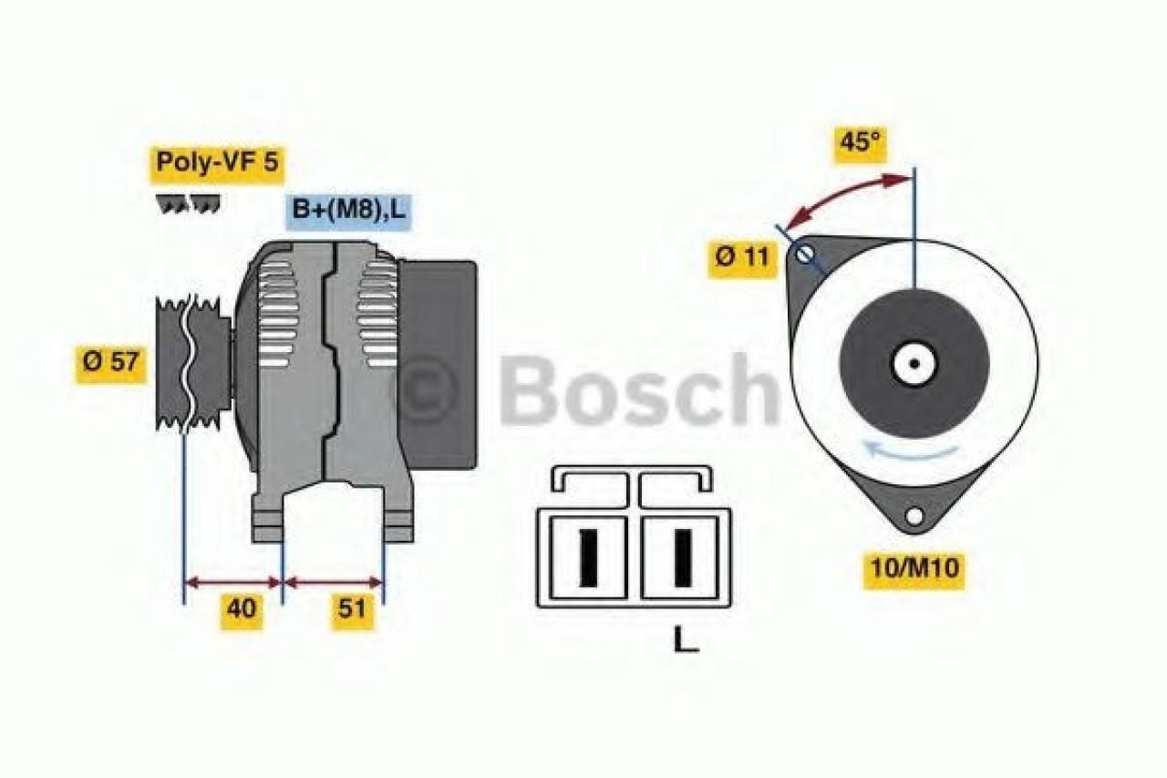 Generator / Alternator KIA RIO II limuzina (JB) (2005 - 2016) BOSCH 0 986 081 060 - produs NOU
