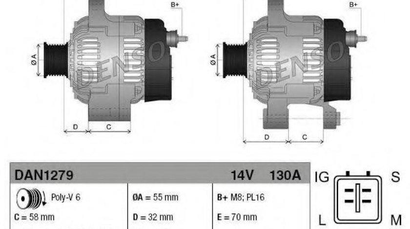 Generator / Alternator LEXUS GS (GRS19, UZS19, URS19, GWS19) (2005 - 2011) DENSO DAN1279 - produs NOU