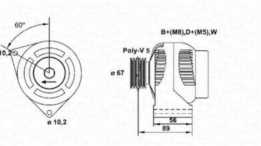 Generator / Alternator MERCEDES SPRINTER 2-t caroserie (901, 902) (1995 - 2006) MAGNETI MARELLI 943356310010 produs NOU