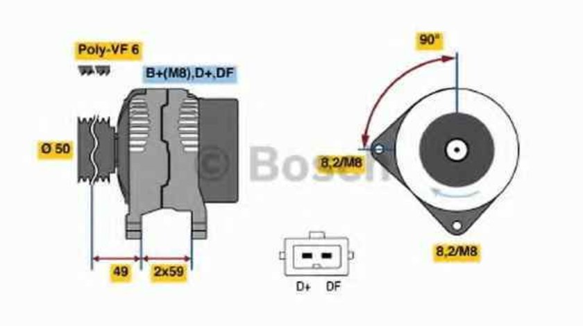 Generator / Alternator VW GOLF III Cabriolet 1E7 BOSCH 0 986 041 300