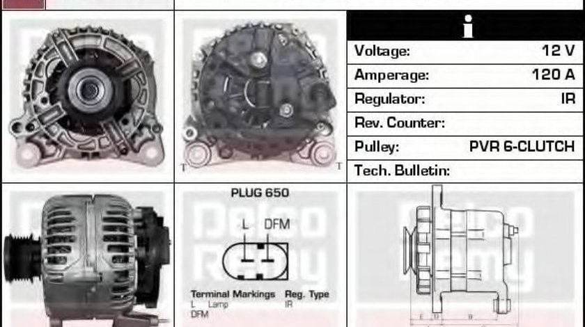 Generator / Alternator VW GOLF IV Variant (1J5) (1999 - 2006) DELCO REMY DRB1860 produs NOU