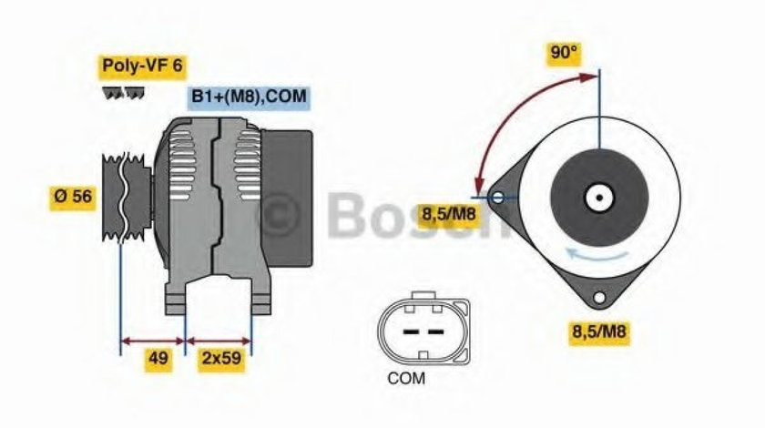 Generator / Alternator VW GOLF VI Cabriolet (517) (2011 - 2016) BOSCH 0 986 081 160 produs NOU