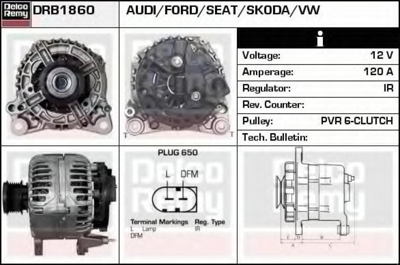 Generator / Alternator VW NEW BEETLE (9C1, 1C1) (1998 - 2010) DELCO REMY DRB1860 - produs NOU