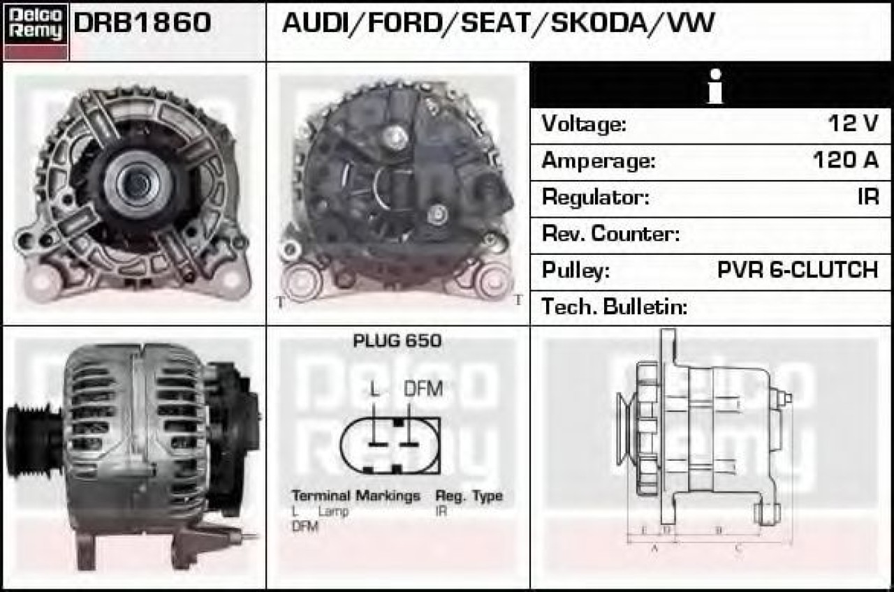 Generator / Alternator VW NEW BEETLE Cabriolet (1Y7) (2002 - 2010) DELCO REMY DRB1860 - produs NOU