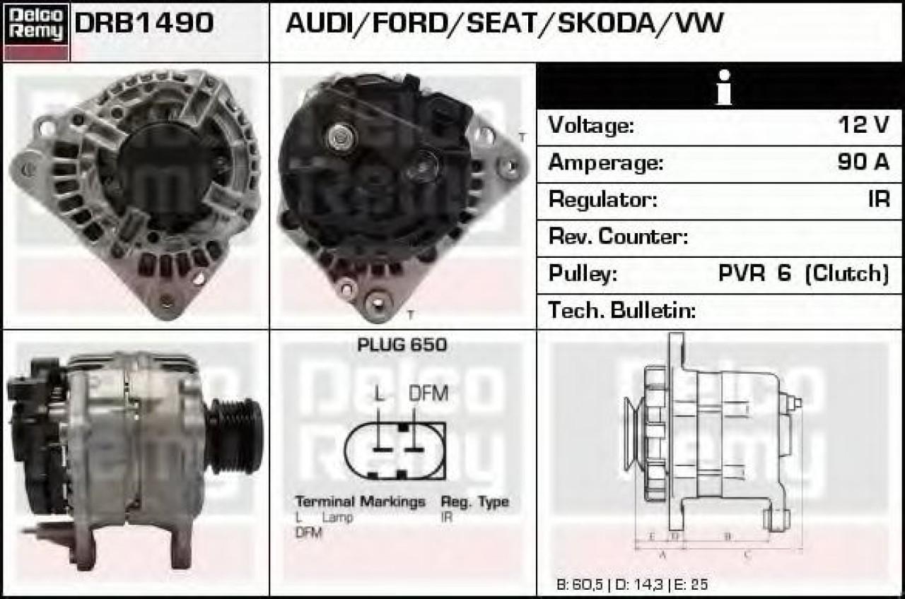 Generator / Alternator VW NEW BEETLE Cabriolet (1Y7) (2002 - 2010) DELCO REMY DRB1490 - produs NOU
