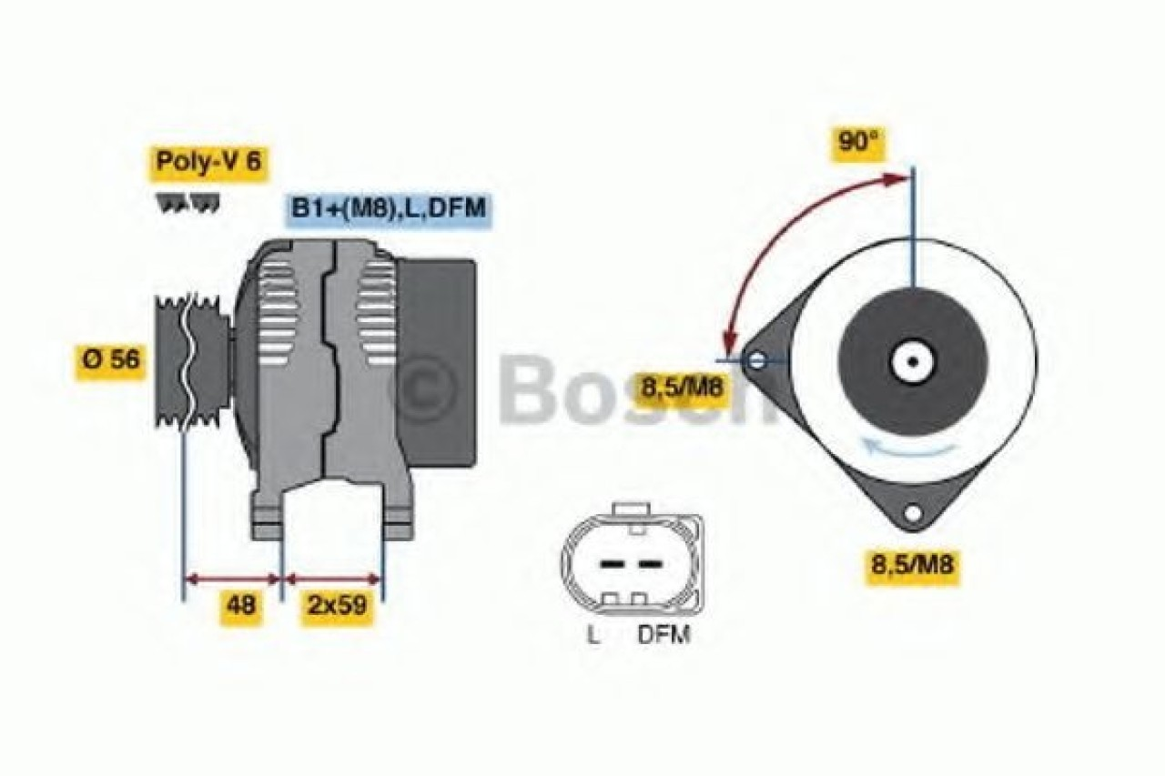 Generator / Alternator VW NEW BEETLE Cabriolet (1Y7) (2002 - 2010) BOSCH 0 986 041 510 produs NOU