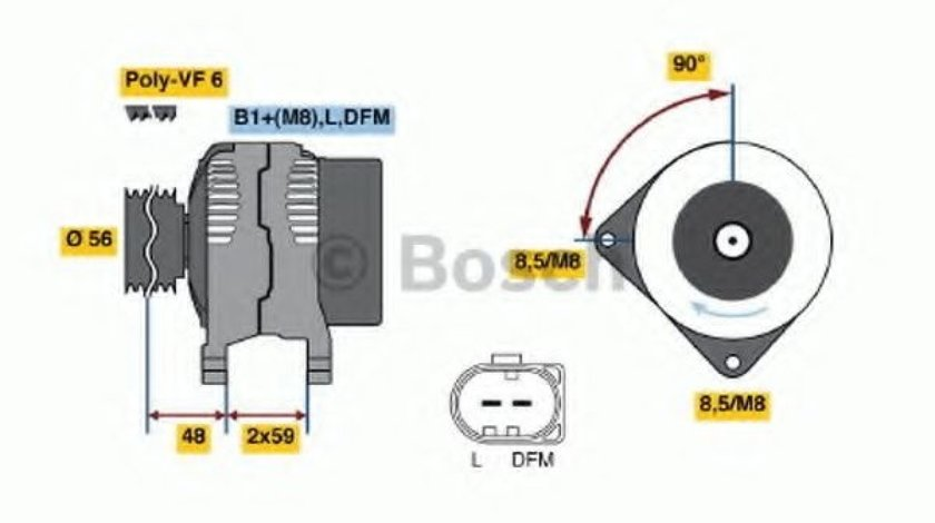 Generator / Alternator VW POLO (9N) (2001 - 2012) BOSCH 0 986 041 860 produs NOU