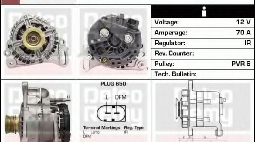 Generator / Alternator VW POLO (9N) (2001 - 2012) DELCO REMY DRB2620 piesa NOUA