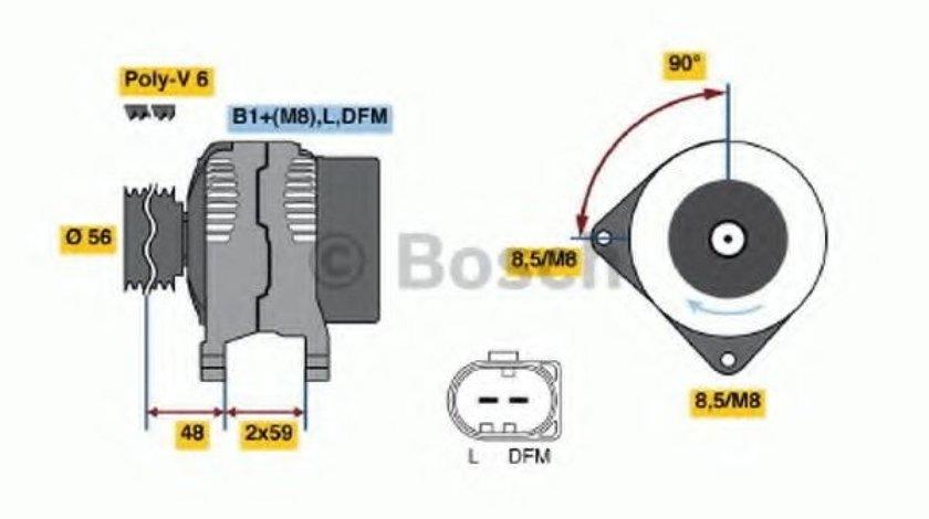 Generator / Alternator VW TOURAN (1T1, 1T2) (2003 - 2010) BOSCH 0 986 045 330 - produs NOU