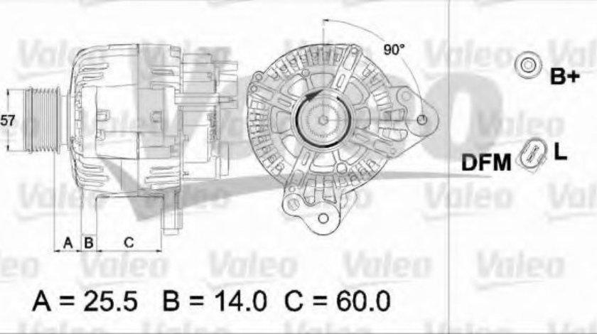 Generator / Alternator VW TRANSPORTER V bus (7HB, 7HJ, 7EB, 7EJ, 7EF, 7EG, 7HF, 7EC) (2003 - 2016) VALEO 437470 piesa NOUA