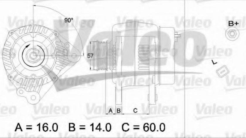 Generator / Alternator VW TRANSPORTER V platou / sasiu (7JD, 7JE, 7JL, 7JY, 7JZ, 7FD) (2003 - 2016) VALEO 437341 piesa NOUA