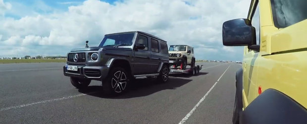 Ghici cine castiga: Cursa intre un Suzuki Jimny si un Mercedes G63 cu Suzuki Jimny pe platforma