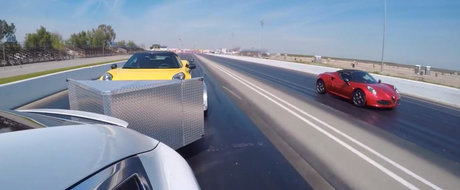 Ghici cine castiga: Intrecere intre o Alfa 4C si un SUV cu... o Alfa 4C in remorca