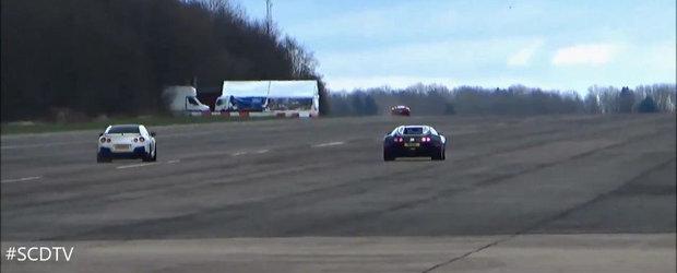 Ghici cine castiga: Intrecere intre un Veyron si un GT-R complet modificat