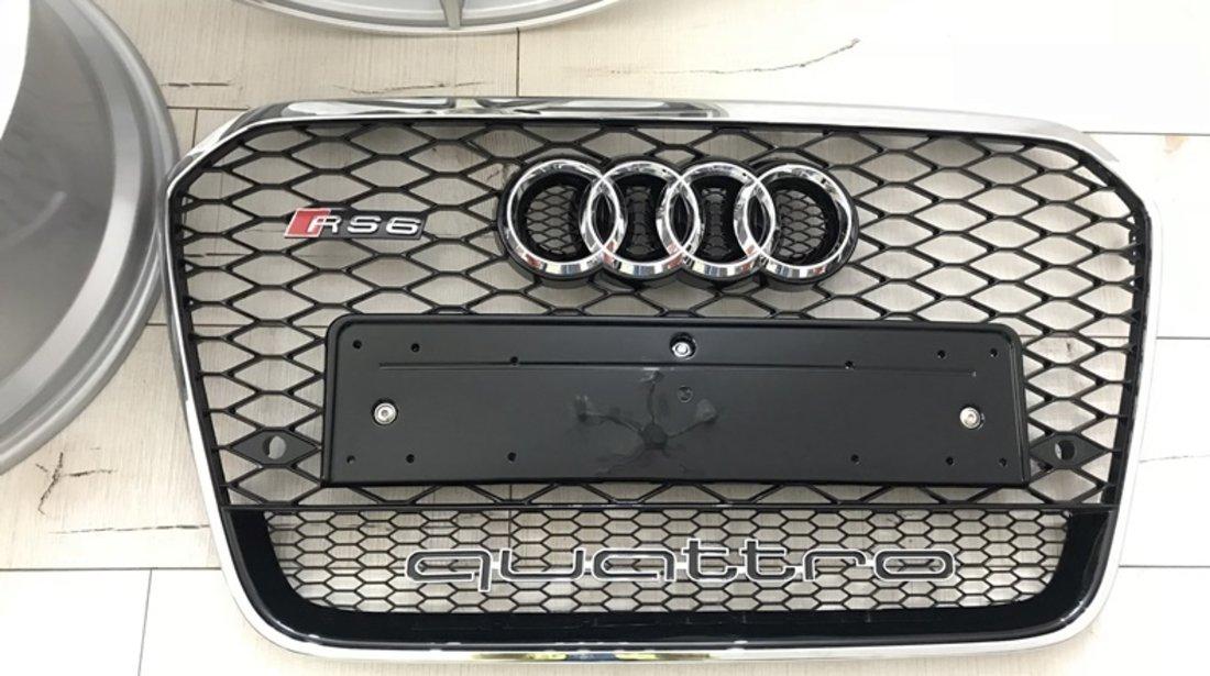 Grila Audi A6 4G model RS6 Crom Negru lucios