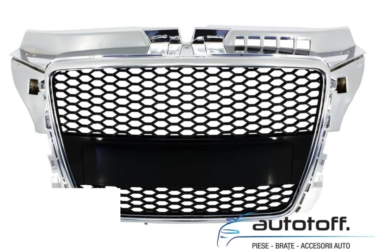 Grila Centrala Audi A3 8P Facelift (2007-2012) RS Design Negru sau Crom