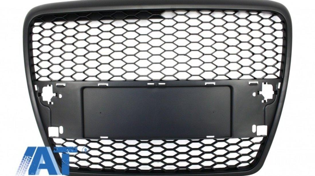 Grila Centrala compatibil cu AUDI A6 4F C6 (2004-2007) RS Design Negru Mat