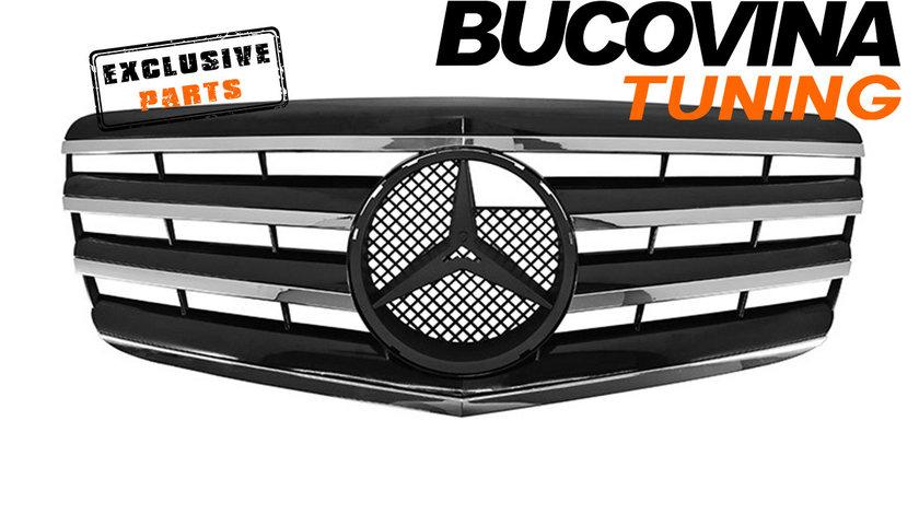Grila Centrala Mercedes Benz E-Class W211 Facelift (06-09) AMG Black Design